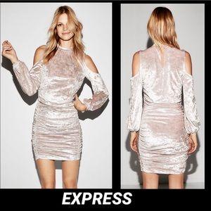 EXPRESS•LILAC CRUSHED VELVET COLD SHOULDER DRESS